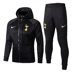 Kit treinamento com capuz oficial Nike Tottenham 2017 2018 Preto
