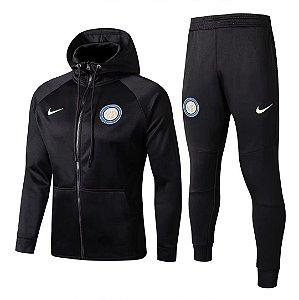 Kit treinamento com capuz oficial Nike Inter de Milão 2017 2018 preto