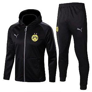 Kit treinamento com capuz oficial Puma Borussia Dortmund 2017 2018 preto