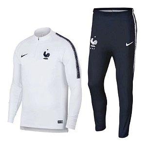 Kit treinamento oficial Nike seleção da França 2018 branco e azul