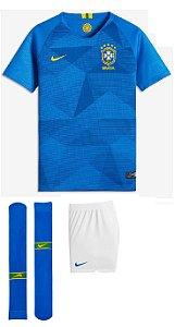 Kit infantil oficial Nike seleção do Brasil 2018 II jogador