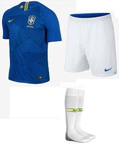 Kit adulto oficial Nike seleção do Brasil 2018 II jogador