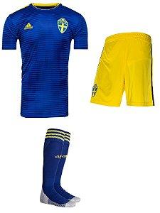 Kit adulto oficial Adidas seleção da Suécia 2018 II jogador