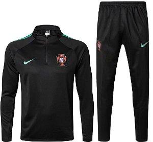 Kit treinamento oficial Nike seleção de Portugal 2018 Preto