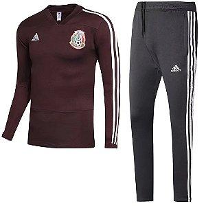Kit treinamento oficial Adidas seleção do Mexico vermelho e preto 2018