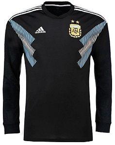 Camisa oficial Adidas seleção Argentina 2018 II jogador manga comprida