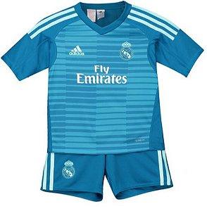 Kit infantil oficial Adidas Real Madrid 2018 2019 II goleiro