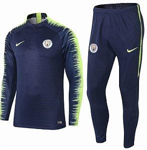 Kit treinamento oficial Nike Manchester City 2018 2019 azul e verde