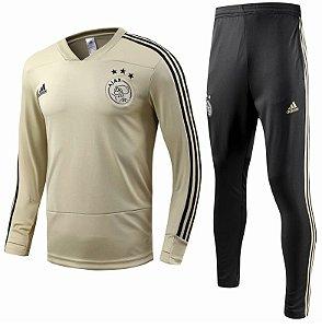 Kit treinamento oficial Adidas Ajax 2018 2019 dourado e preto