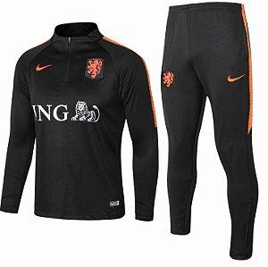 Kit treinamento oficial Nike seleção da Holanda 2018 Laranja e preto