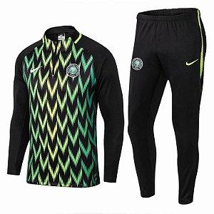 Kit treinamento oficial Nike Seleção da Nigéria 2018 Preto e verde