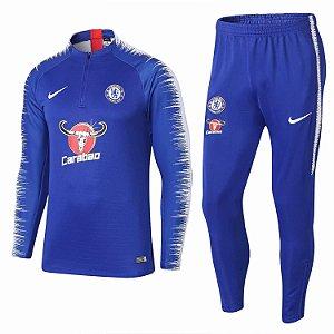 Kit treinamento oficial Nike Chelsea 2018 2019 Azul