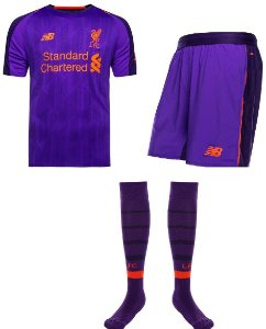 Kit adulto oficial New Balance Liverpool 2018 2019 II jogador