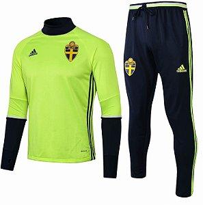 Kit de treinamento oficial Adidas seleção da Suécia 2018 Verde e preto