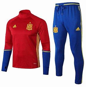 Kit treinamento oficial Adidas seleção da Espanha 2018 vermelho e azul