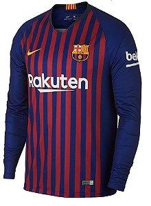 Camisa oficial Nike Barcelona 2018 2019 I jogador manga comprida