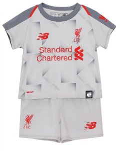 Kit infantil oficial New Balance Liverpool 2018 2019 III jogador
