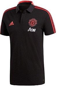 Camisa polo oficial Adidas Manchester United 2018 2019 preta