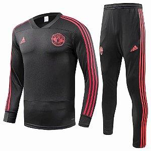 Kit treinamento oficial Adidas Manchester United 2018 2019 preto e vermelho