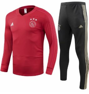 Kit de treinamento oficial Adidas Ajax 2018 2019 Vermelho e preto