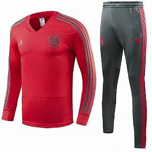 Kit treinamento oficial Adidas Bayern de Munique 2018 2019 vermelho e preto