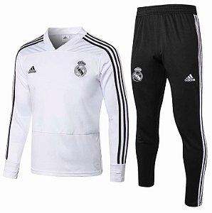 Kit treinamento oficial Adidas Real Madrid 2018 2019 branco e preto