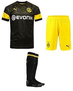 Kit adulto oficial Puma Borussia Dortmund 2018 2019 II jogador