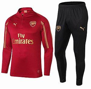 Kit treinamento oficial Puma Arsenal 2018 2019 vermelho e dourado