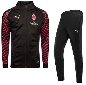 Kit treinamento oficial Puma Milan 2018 2019 preto e vermelho