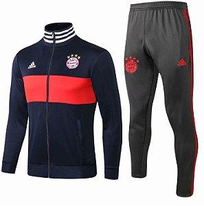 Kit treinamento oficial Adidas Bayern de Munique 2018 2019 Azul e cinza