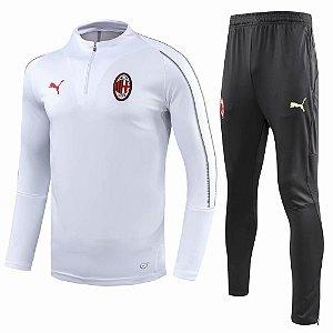 Kit treinamento oficial Puma Milan 2018 2019 branco e preto