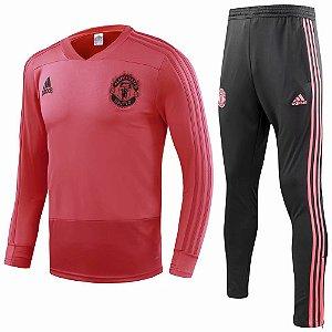 Kit treinamento oficial Adidas Manchester United 2018 2019 Vermelho e preto