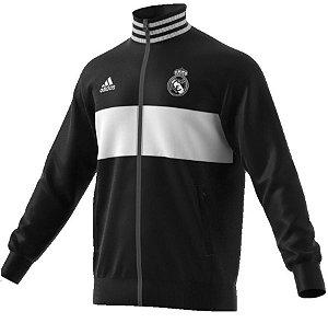 Jaqueta oficial Adidas Real Madrid 2018 2019 Preta e branca