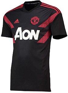 Camisa de treino oficial Adidas Manchester United 2018 2019 Preta e vermelha