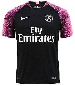 Camisa de treino oficial Nike PSG 2018 2019 preta e rosa
