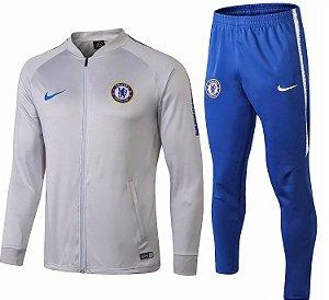 Kit treinamento oficial Nike Chelsea 2018 2019 Cinza e Azul