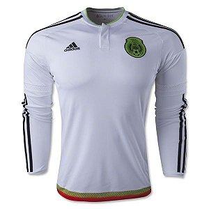 Camisa oficial Adidas seleção do México 2015 II jogador manga comprida