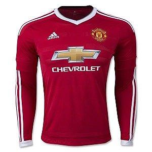 Camisa oficial Adidas Manchester United 2015 2016 I jogador manga comprida