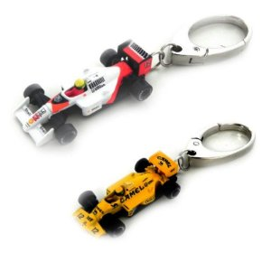 Kit Chaveiro Ayrton Senna Lotus Amarela + Mclaren 1/72 Premiumx