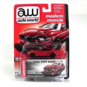 Ford Mustang GT 2015 1/64 Auto World Vermelho