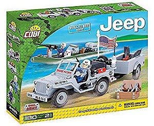 Jeep Willys Militar Marinha Blocos de Montar 180 Peças Cobi