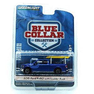 Ford f-150 2015 com Ladder Rack Blue Collar 1/64 Greenlight