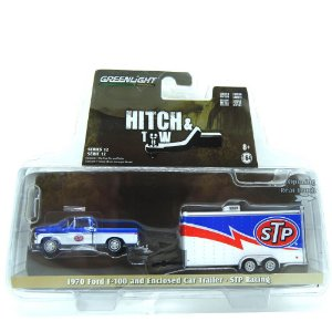 Ford F-100 1970 com Enclosed Car Trailer - STP Racing Hitch & TIW 1/64 Greenlight