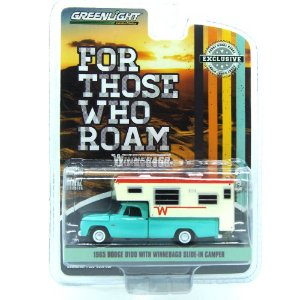 Dodge D100 With Winnebago Slide-In Camper For Those Who Roam 1/64 Greenlight