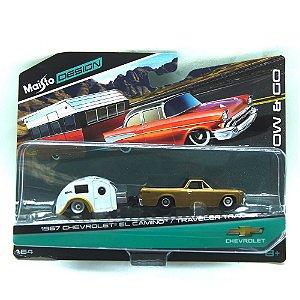 Chevrolet El Camino 1967 Traveler Trailer 1/64 Maisto Design Tow & Go