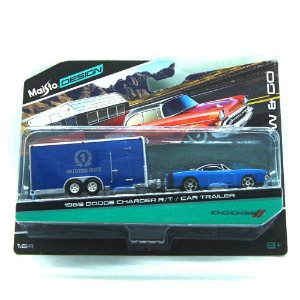 Dodge Charger R/T 1969 Car Trailer 1/64 Maisto Design Tow & Go