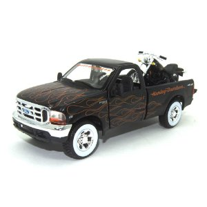 Ford F-350 Super Duty 1999 1/27 Harley Davidson FXSTB Night Train 2002 1/24 Maisto Preto HD Custom