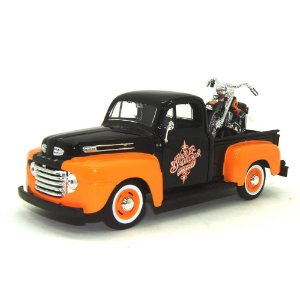 Ford F-1 Pick Up 1948 Harley Davidson FLH Duo Glide 1958 1/24 Maisto Preto HD Custom