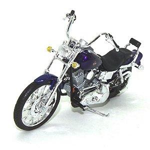 Moto Harley Davidson FXDWG Dyna Wide Gide 2001 Roxa 1/18 Maisto HD Custom Series 34