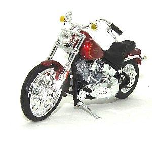 Moto Harley Davidson FXST Softail 1984 Vinho 1/18 Maisto HD Custom Series 35
